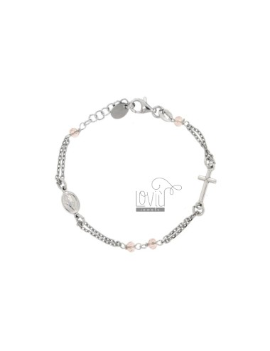 ROSE BRACELET BABY CABLE WITH STONES FACETS FROM MM 25X35 ROSE IN SILVER RHODIUM 925 ‰ CM 12-15