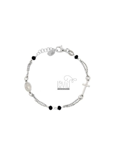 ROSE BRACELET BABY CABLE WITH STONES FACETS FROM MM 25X35 BLACKS IN SILVER RHODIUM 925 ‰ CM 12-15