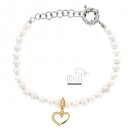 BRACELET OF PEARLS IN BRONZE RHODIUM WITH COPPER HEART WITH ZIRCONIA PENDANT