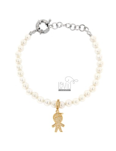 BRACELET OF PEARLS IN BRONZE RHODIUM WITH CHIMNEY CHILD WITH ZIRCONIA PENDANT