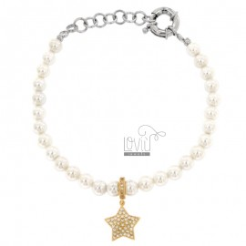 BRACELET OF PEARLS IN BRONZE RHODIUM WITH STAR RAMED WITH ZIRCONIA PENDANT