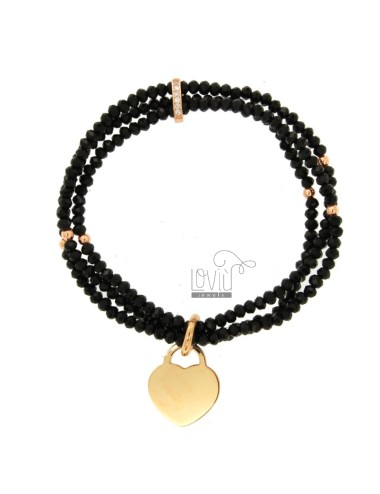 3-WIRE ELASTIC BRACELET OF BLACK AGATE STONES AND HEART PENDANT IN BRONZE COPATO AND RHINESTONES