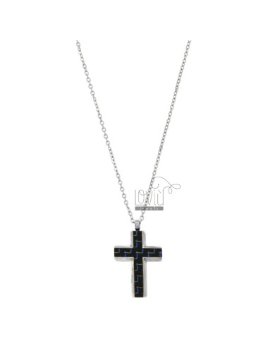 PENDANT CROSS WITH CARBON FIBER AND CHAIN ??ROLO 'CM 50 STEEL