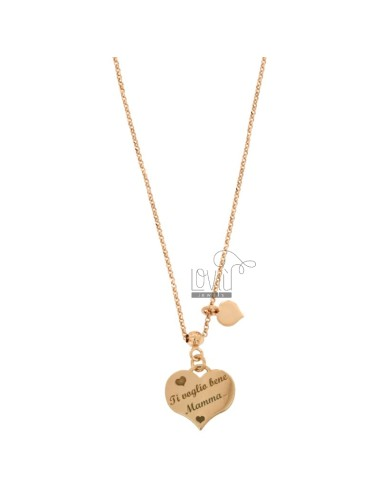 ROLO NECKLACE WITH HEART I WANT YOU MOM AND HEART PENDANT IN SILVER COPPER TIT 925 ‰ CM 40-45