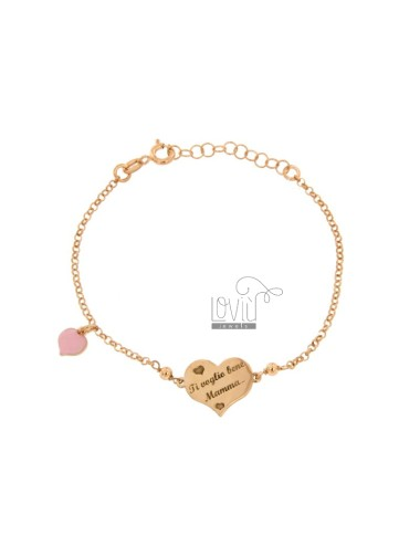 ROLO BRACELET 'WITH HEART I WANT YOU MOM AND HEART ENAMELED PENDANT IN SILVER COPPER TIT 925 ‰ CM 17-20