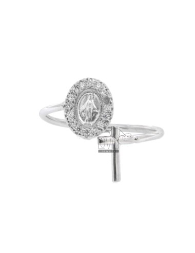 RING CONTRARY MIRACULOUS MADONNA AND CROSS WITH ZIRCONIA IN SILVER RHODIUM TIT 925 ADJUSTABLE SIZE