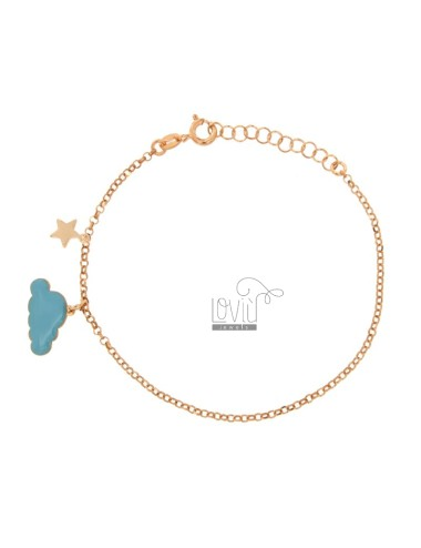 ROLO BRACELET WITH GLAZED CLOUD AND STELLINA PENDANT IN COPPER SILVER TIT 925 ‰ CM 17-20