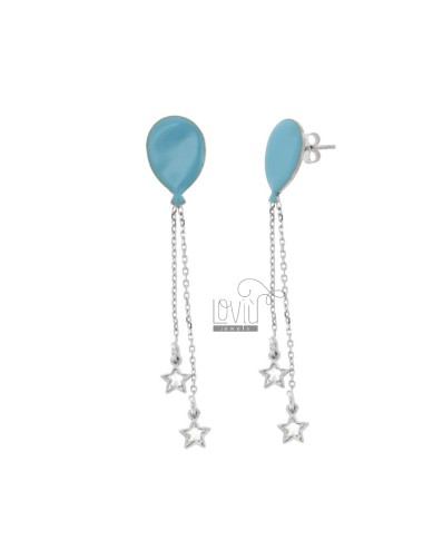 EARRINGS BALLOON WITH CHAINS AND STARS WITH ZIRCONIA PENDANTS IN SILVER RHODIUM TIT 925 ‰