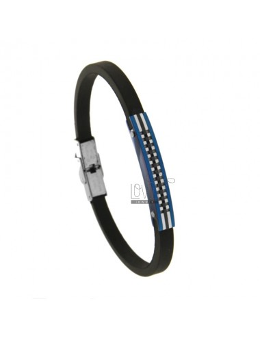 CAUCCIU 'BRACELET WITH CENTRAL PLATE IN TRICOLORED STEEL 21 CM