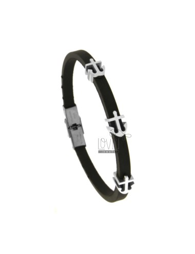 BRACELET IN CAUCCIU 'WITH 3 CENTRAL ANCORE IN STEEL 21 CM
