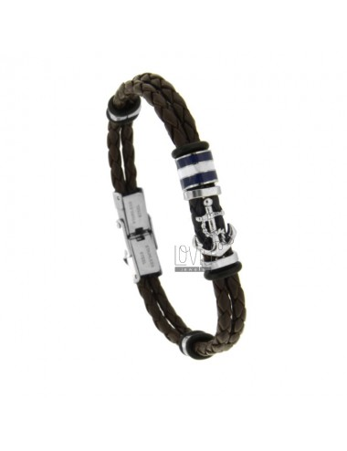 2 WIRE BRAIDED LEATHER BRACELET WITH GLOVES AND CENTRAL BOAT SHOES