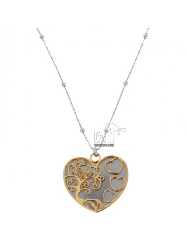 NECKLACE CABLE WITH ALTERNATE BALLS AND HEART WITH TREE OF LIFE PENDANT IN RHODIUM STEEL AND COPPER CM 90