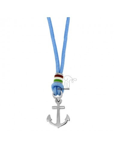 CELESTIAL ROPE NECKLACE WITH ANCHOR AND STEEL ENAMELED FLAG CM 50