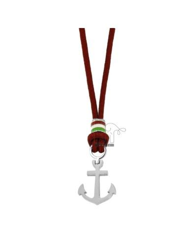 Collar de cuerda roja con...