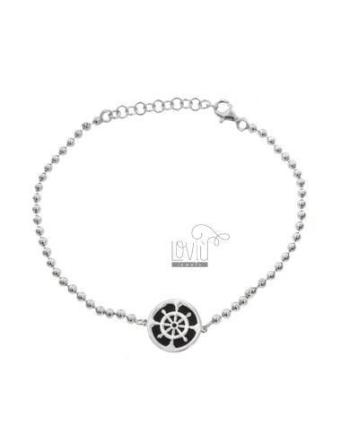 2.5 MM BALL BRACELET WITH RUDDER IN CENTRAL CIRCLE IN SILVER RHODIUM TIT 925 ‰ AND SMALTO CM 17-21