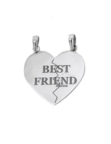 PENDANT HEART DIVIDED BEST FRIEND MM 20X18 SILVER RHODIUM 925 ‰