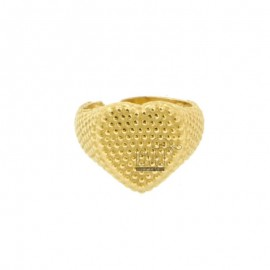 RING FROM MIGNOLO HEART WITH MICROSPHERES IN GOLDEN SILVER 925 ‰ ADJUSTABLE SIZE FROM 6