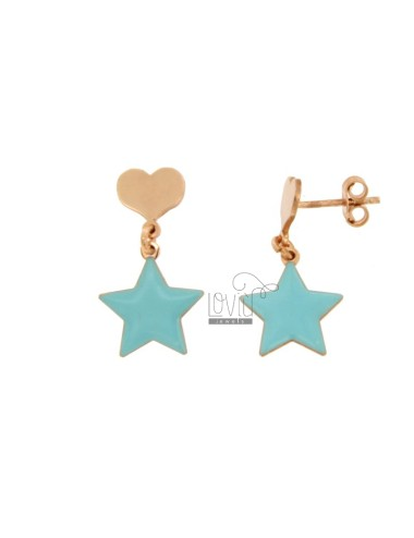 EARRINGS PENDANT WITH HEART AND STAR ENAMELED IN COPPER SILVER TIT 925 ‰