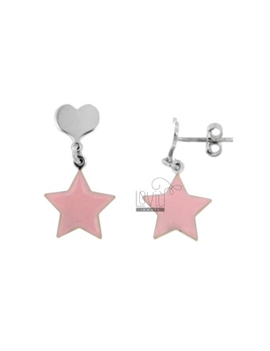 EARRINGS PENDANT WITH HEART AND STAR ENAMELED IN SILVER RHODIUM TIT 925 ‰