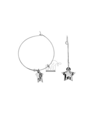 EARRINGS A CIRCLE MM 32 WITH STELLA GLAZED PENDANT SILVER RHODIUM TIT 925
