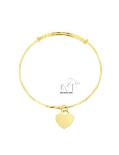 RIGID 2 MM RING BRACELET WITH HEART PENDANT SILVER GOLDEN TIT 925 ‰