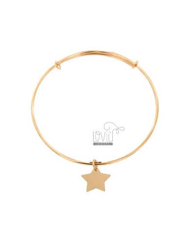 RIGID MM 2 BRACELET IN CIRCLE WITH STAR PENDANT IN COPPER SILVER TIT 925 ‰