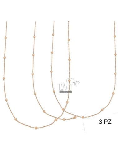 LACE PZ 3 CHAIN ??AND 2.5 MM BALL ALTERNATE SILVER COPPER TIT 925 ‰ CM 50