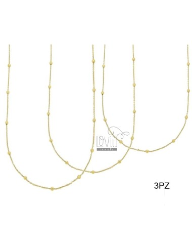 LACE PZ 3 CHAIN ??AND 2.5 MM BALL ALTERNATE SILVER GOLD TIT 925 ‰ CM 50
