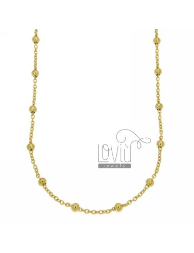 LACE PZ 2 CHAIN ??AND 2.5 MM BALL ALTERNATE SILVER GOLD TIT 925 ‰ CM 70