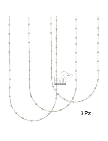 LACE PZ 3 CHAIN ??AND BALL 2.5 MM ALTERNATE SILVER RHODIUM TIT 925 ‰ CM 50