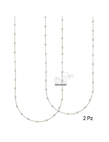 LACE 2 PCS CHAIN AND BALL 2.5 MM ALTERNATE SILVER RHODIUM TIT 925 ‰ 60 CM