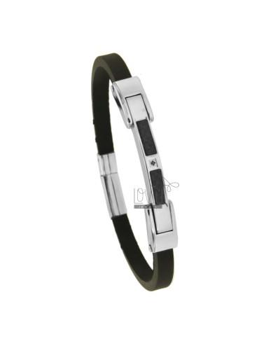 Armband in black gummi 'mm...
