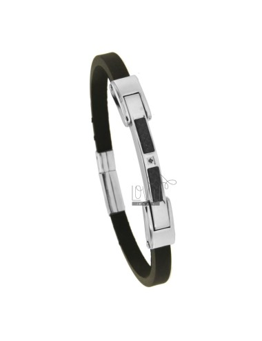 BRACELET IN BLACK RUBBER 'MM 5 WITH PLATE WITH CARBON FIBER AND ZIRCON AND N STEEL