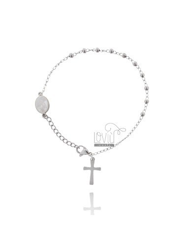 ROSARY BRACELET CM 19 IN STEEL WITH SMOOTH BALLS FROM MM 3