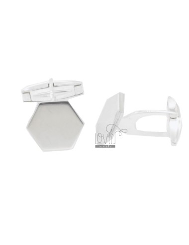 SMALL HEXAGONAL CUFFLINKS 14X16 MM SILVER TIT 925 ‰