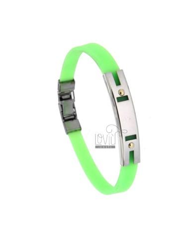 Armband in gummi 'grün mit...