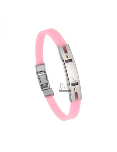 BRACELET IN CAUCCIU 'ROSE WITH PLATE THROUGH STEEL WITH VITINES IN BILAMINE OF BRASS AND GOLD