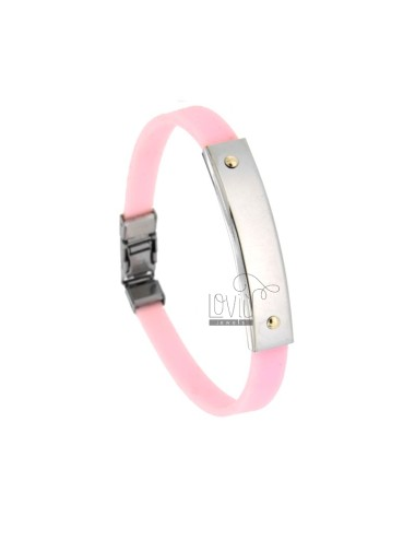 BRACELET IN CAUCCIU 'ROSE WITH STEEL PLATE WITH 2 POINTS IN BRASS
