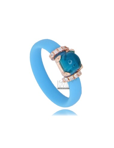 RING IN CUBESTE 'CELESTE WITH APPLICATION IN AG PLATED ROSE GOLD TIT 925 ‰ ZIRCONES AND STONES HYDROTHERMAL ASSORTED COLORS