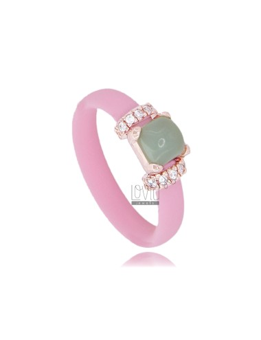 ROSE RUBBER RING WITH APPLICATION IN ROSE GOLD PLATED AG TIT 925 ‰ ZIRCONIA AND HYDROTHERMAL STONES ASSORTED COLORS