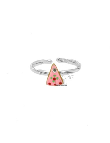 RING WITH SILVER RHODIUM CAKE TIT 925 RHINESTONES AND ENAMEL ADJUSTABLE SIZE FROM 6