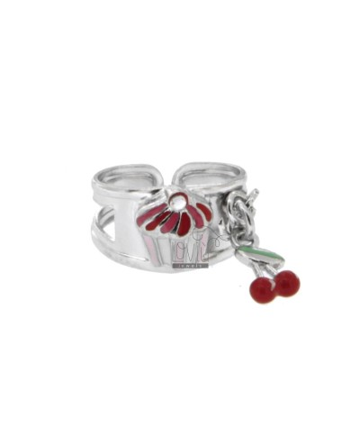 RING WITH DOLCETTO CUPCAKE AND CHERRIES IN SILVER RHODIUM TIT 925 RHINESTONES AND ENAMEL ADJUSTABLE SIZE FROM 6
