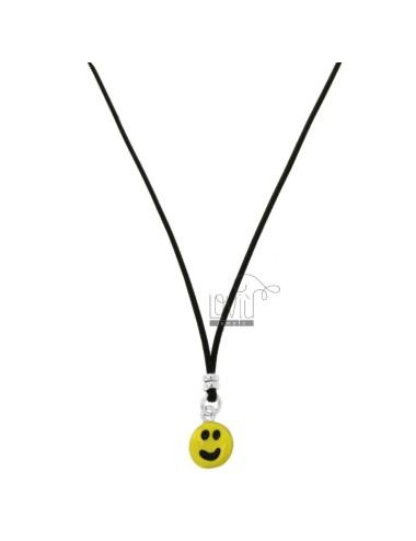SILK NECKLACE CERATA WITH SMILE PENDANT SILVER RHODIUM TIT 925 AND ENAMEL CM 38-40