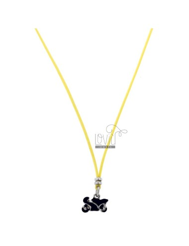 SILK NECKLACE CERATA WITH MOTORCYCLE PENDANT SILVER RHODIUM TIT 925 AND ENAMEL CM 38-40