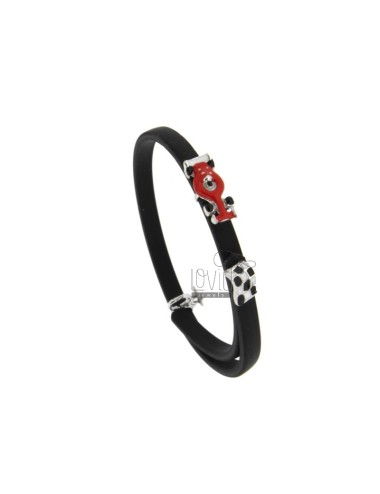 BRACELET IN RUBBER 'WITH RACING MACHINE AND PIT STOP IN SILVER RHODIUM TIT 925 AND ENAMEL