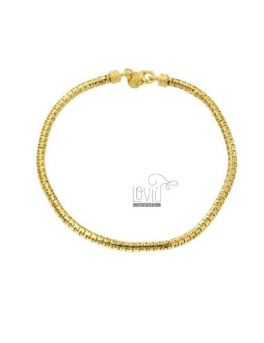 TUBULAR BRACELET PUZZLE JERSEY 3 MM 20 CM IN SILVER GOLDEN TIT 925