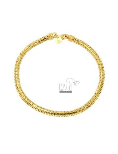 TUBULAR BRACELET PUZZLE JERSEY MM 4 CM 20 SILVER GOLDEN TIT 925