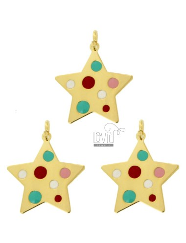 PENDANT STAR PZ 3 MM 22X21 SILVER GOLDEN TIT 925 AND ENAMEL