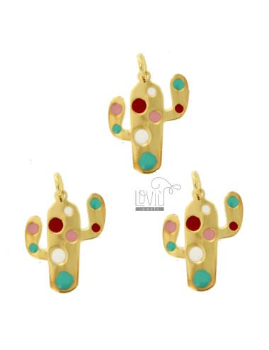 PENDANT CACTUS PZ 3 MM 20X14 SILVER GOLDEN TIT 925 AND ENAMEL