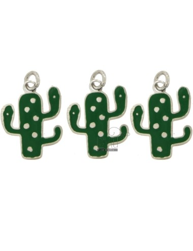 PENDANT CACTUS PZ 3 MM 20X14 SILVER RHODIUM TIT 925 AND ENAMEL